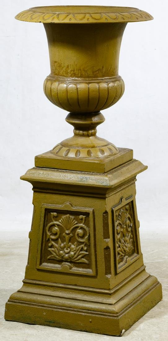 Painted Metal Urn and Base