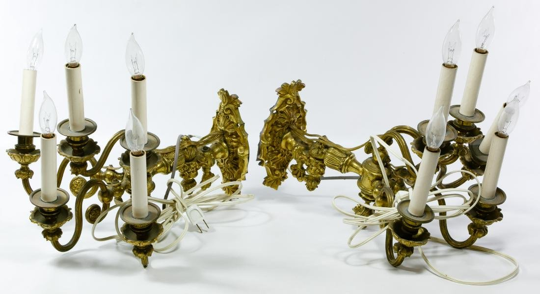 Gilt Brass Electrified Wall Sconces