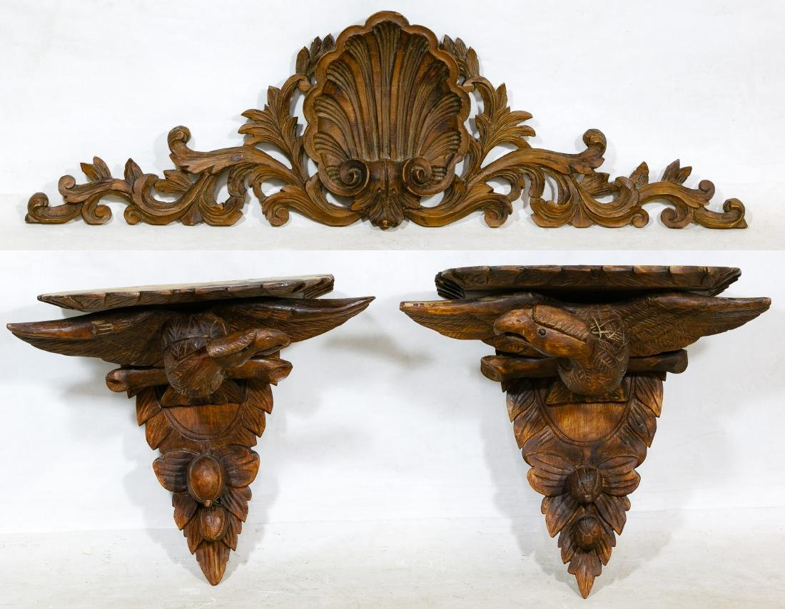 Carved Eagle Wood Wall Shelves