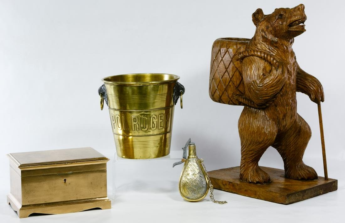 Carved Wood Bear and Brassware Assortment