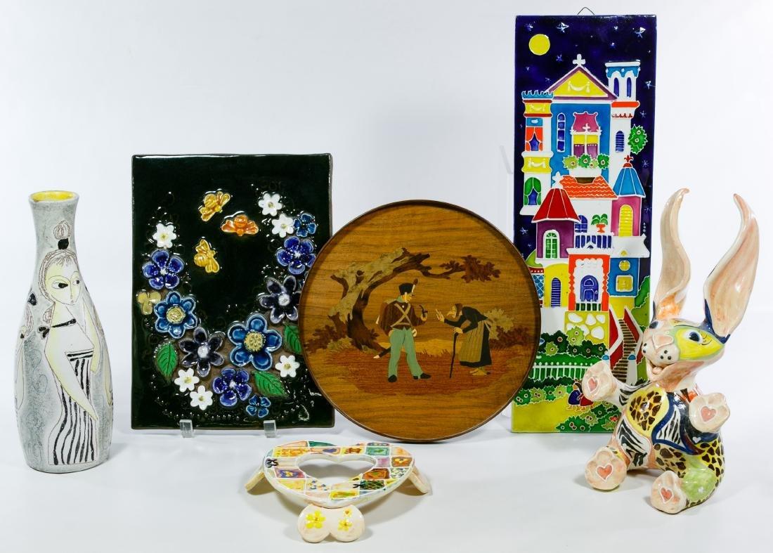 Decorative Ceramic Plaque, Figurine and Vase Assortment