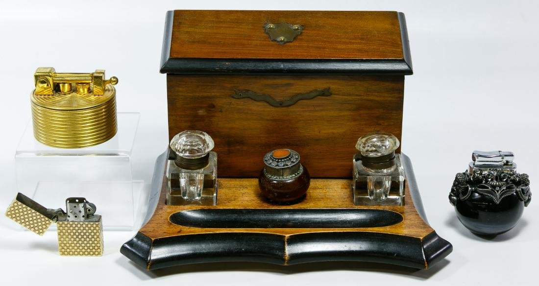 Mahogany Inkwell Stand, Lighters and Bottle Assortment