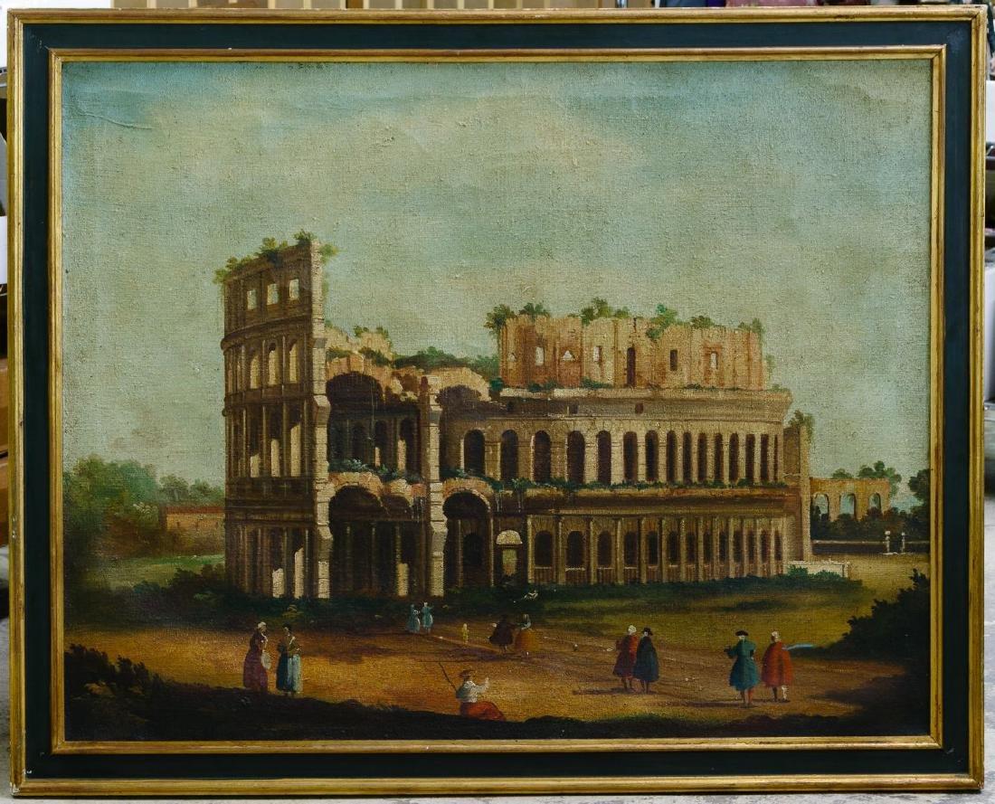 European School (19th Century) 'Italian Ruins' Oil on