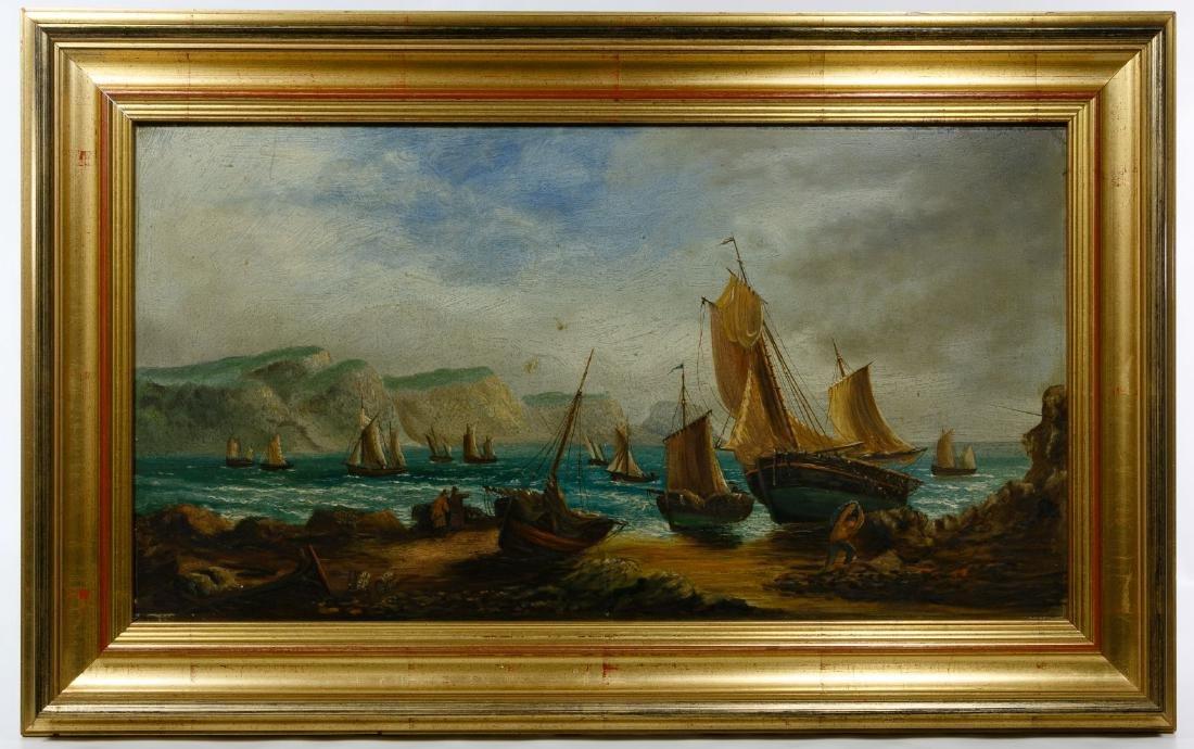 European School (19th Century) 'Sailboats' Oil on Board
