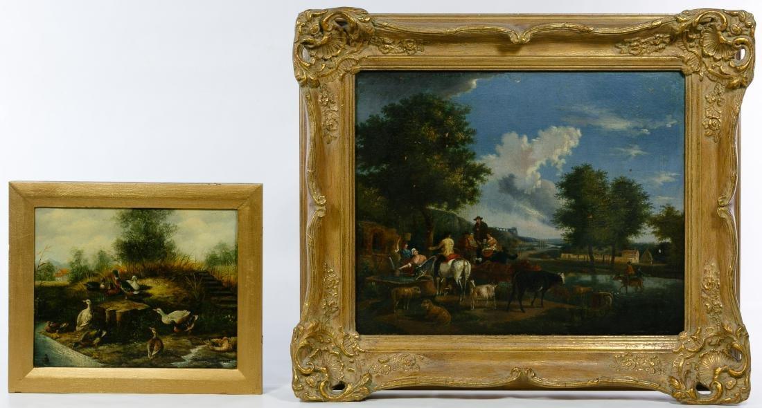European School (19th Century) Animal Landscape Oil on