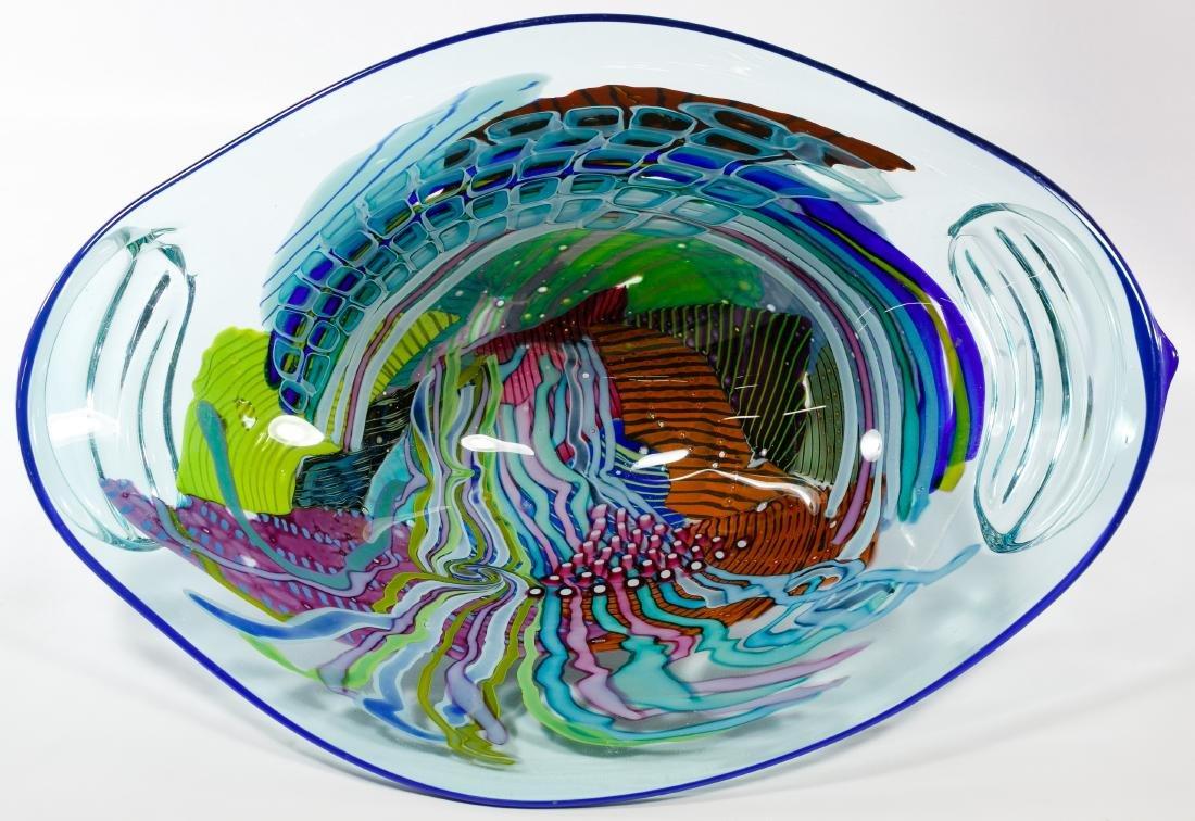 Lisa & Peter Ridabock 'Wave' Art Glass Platter - 2