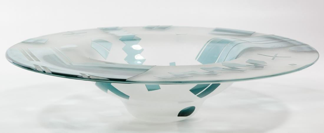 Lisa & Peter Ridabock 'Wave' Art Glass Platter - 4