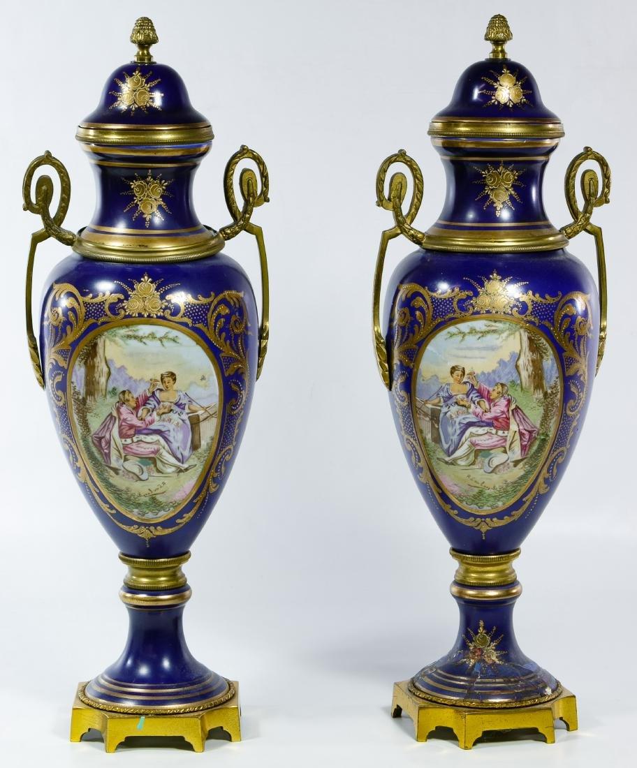 Sevres Style Porcelain Urns