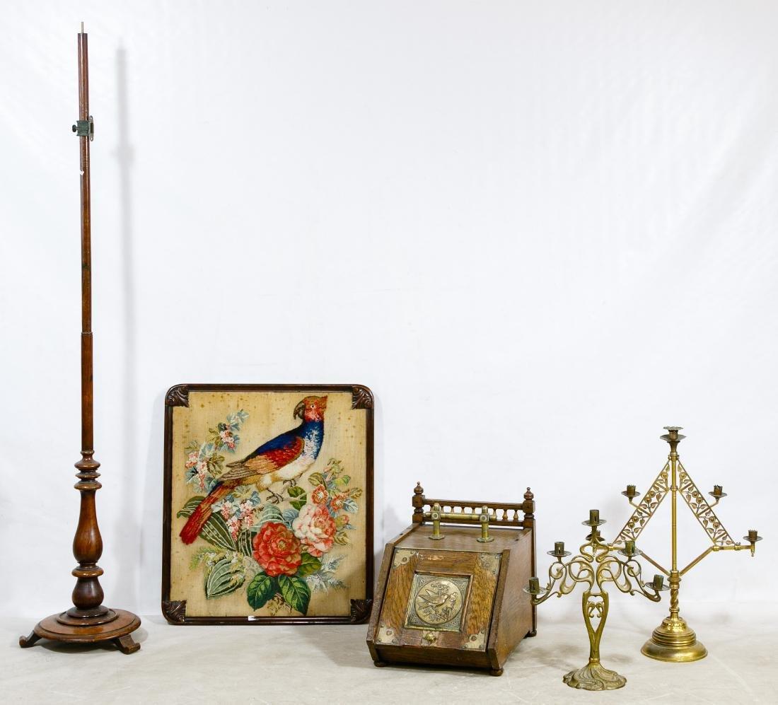 Crewel-work Fireplace Screen, Coal Hod and Brass