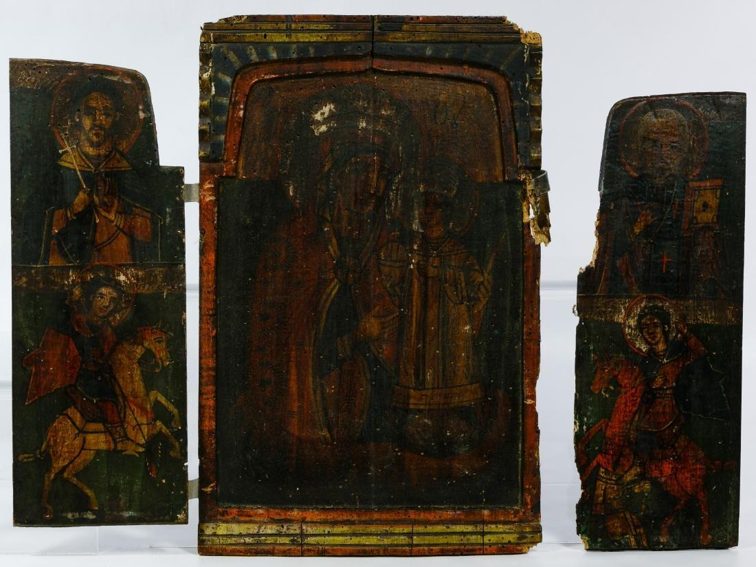 Greek Triptych Icon and Illuminated Manuscript