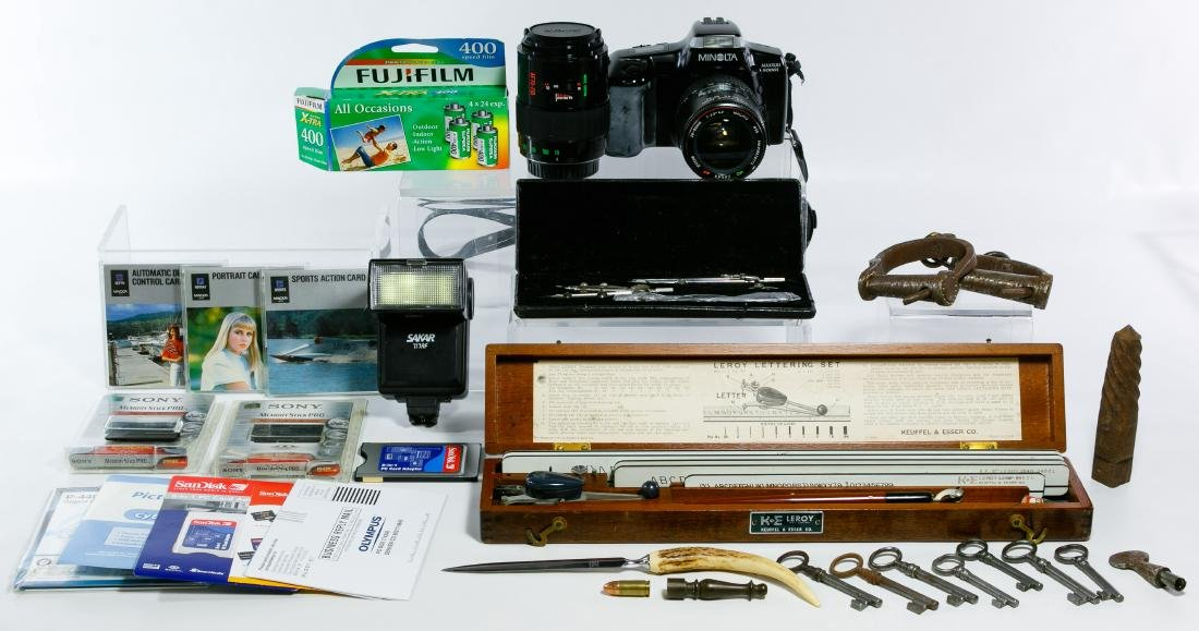Camera, Hand Cuffs and Lettering Tool Assortment