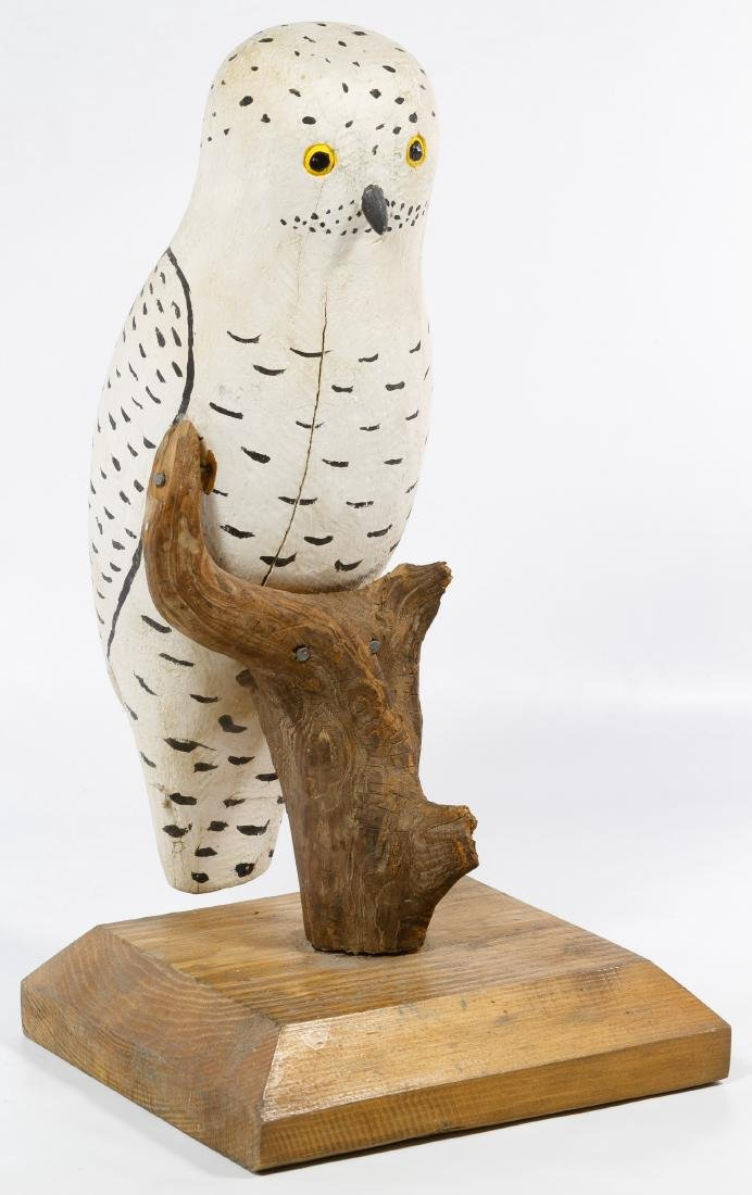 Carved and Painted Folk Art Owl