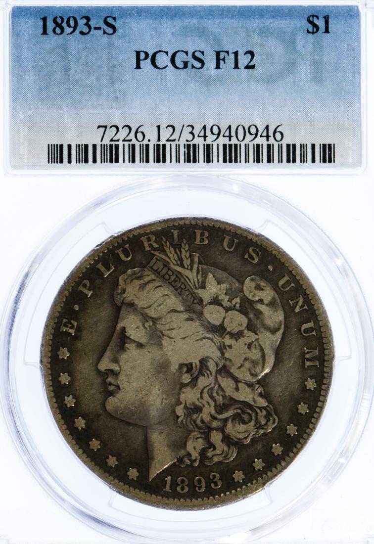 1893-S $1 F-12 PCGS