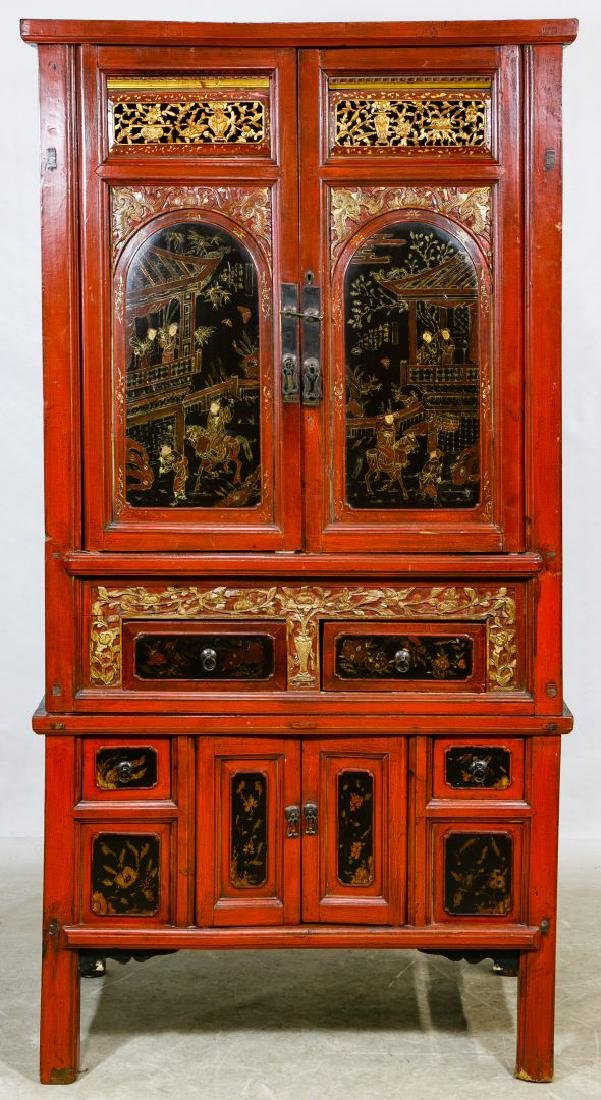Asian Painted Wood Cabinet