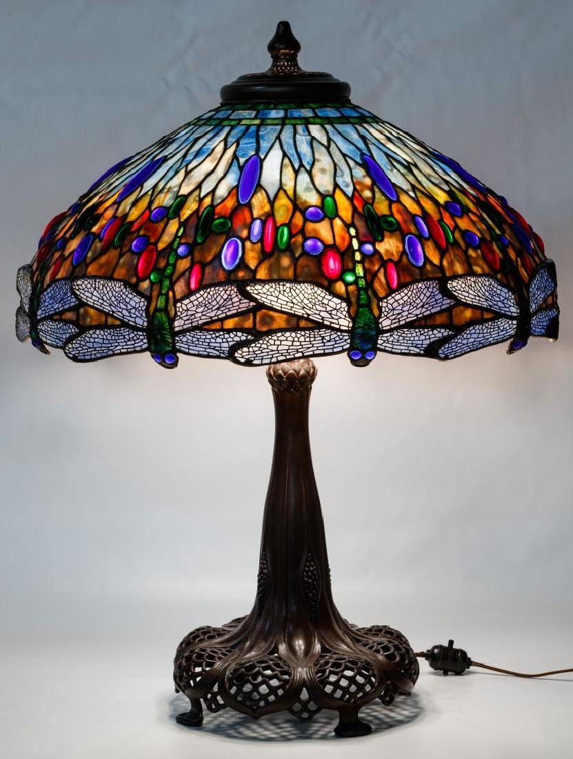 Tiffany Style 'Dragonfly' Stained Glass Shade Table