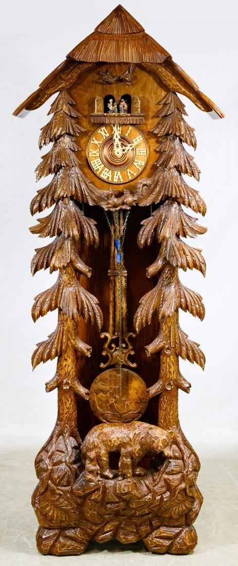 Kieninger Mahogany Grandfather Cuckoo Clock