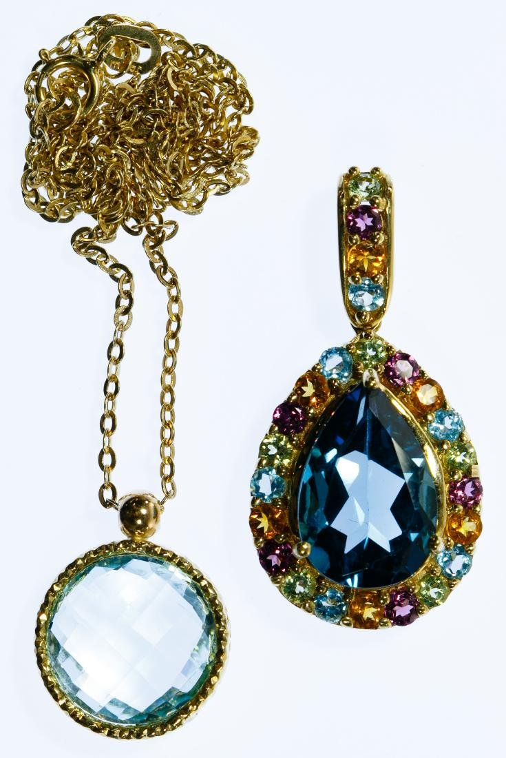 14k Gold and Blue Topaz Pendant and Necklace Assortment