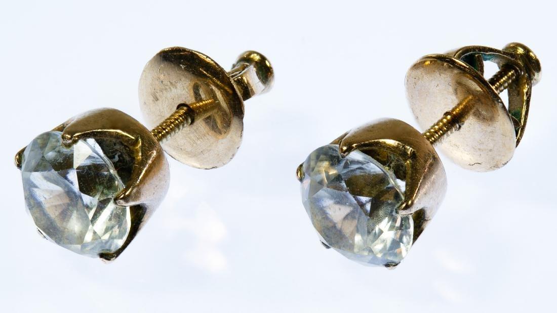 10k Gold and White Topaz Stud Pierced Earrings