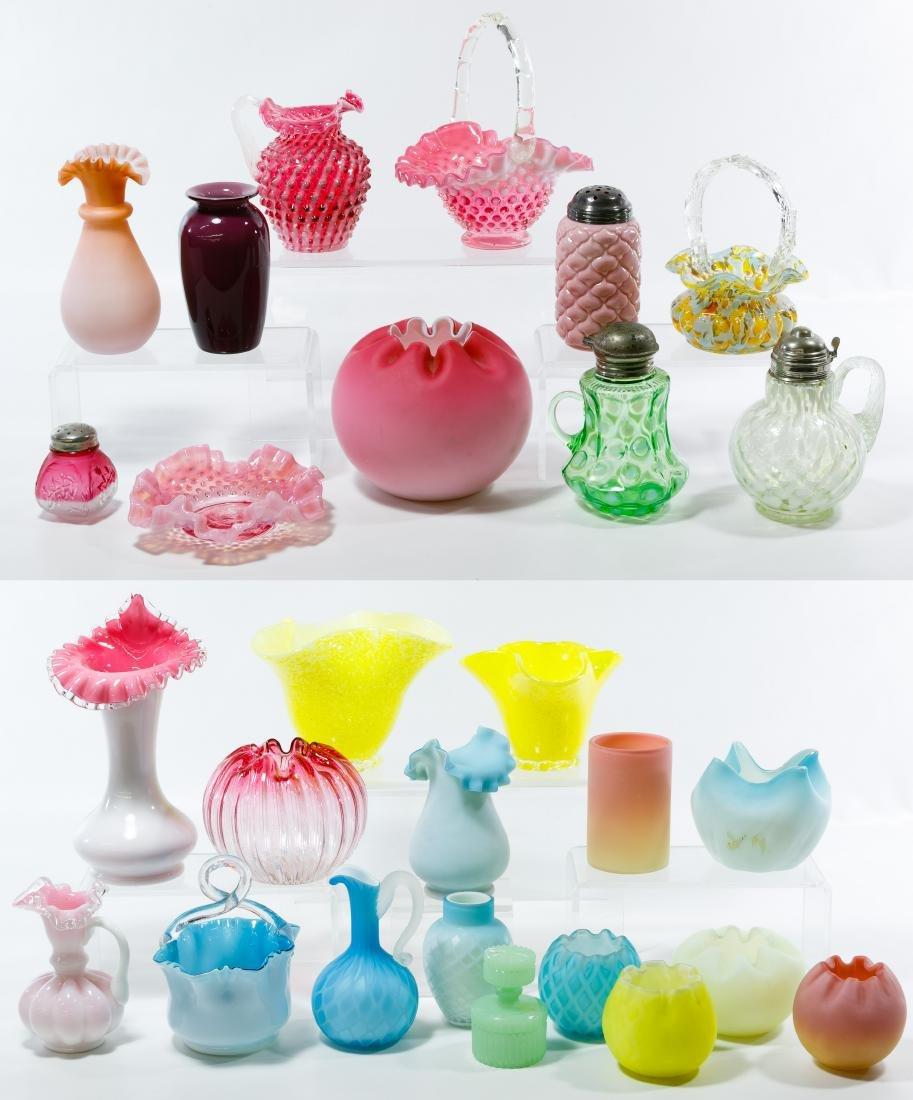 Fenton, Hobnail, Spatter and Art Glass Assortment