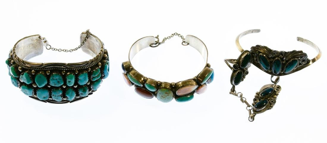 Native American Sterling Silver and Stone Bracelets