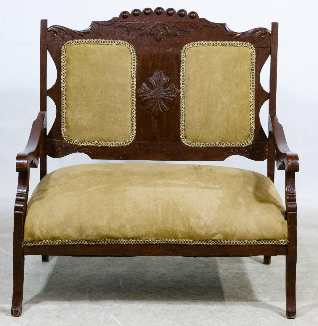 Victorian Mahogany Upholstered Settee