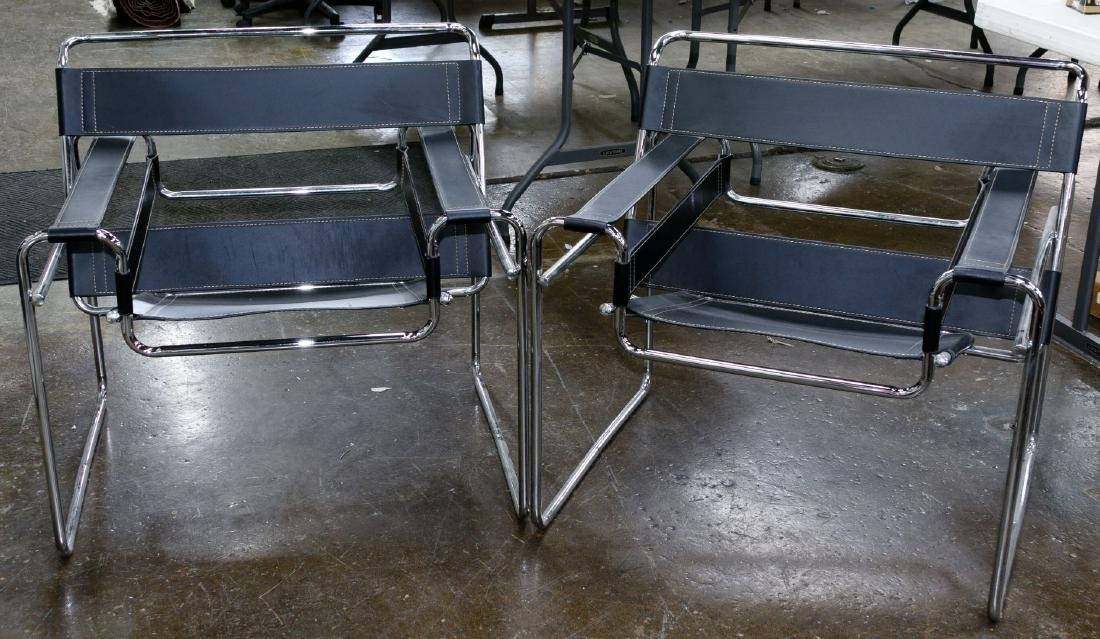 MCM 'Wassily' Style Chrome and Leather Chairs (After)