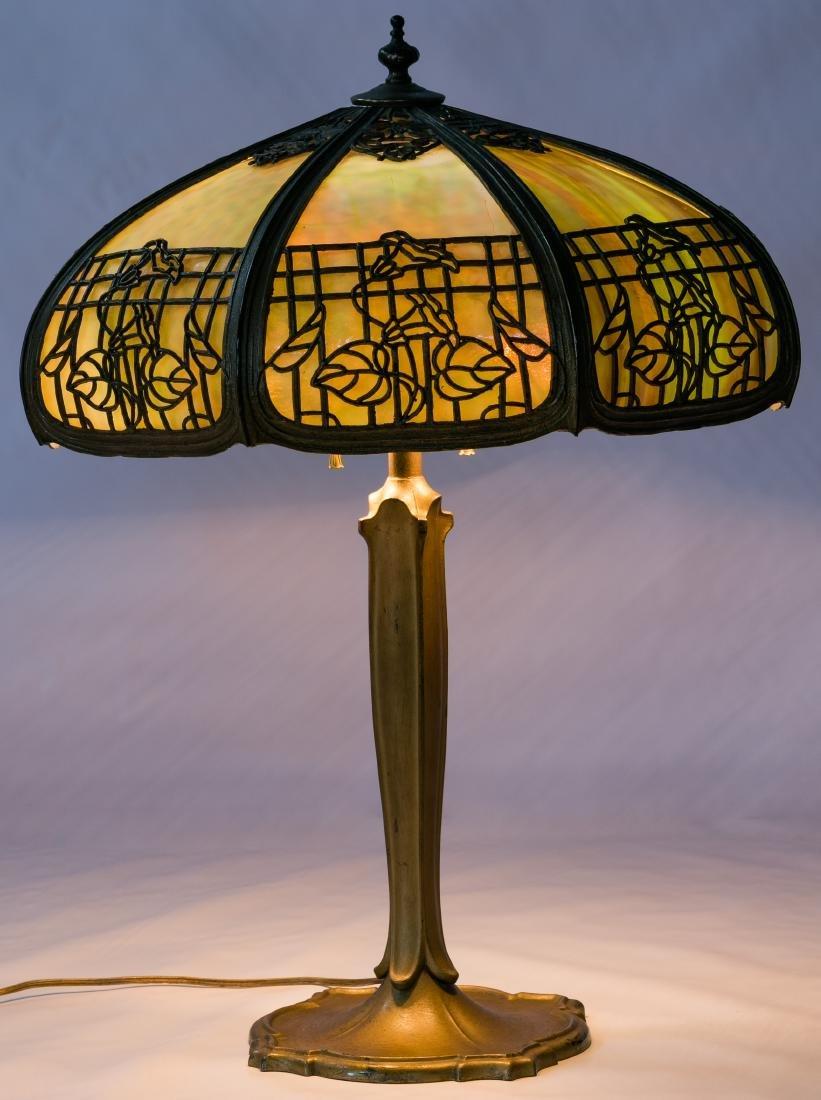 Art Nouveau Slag Glass panel Table Lamp