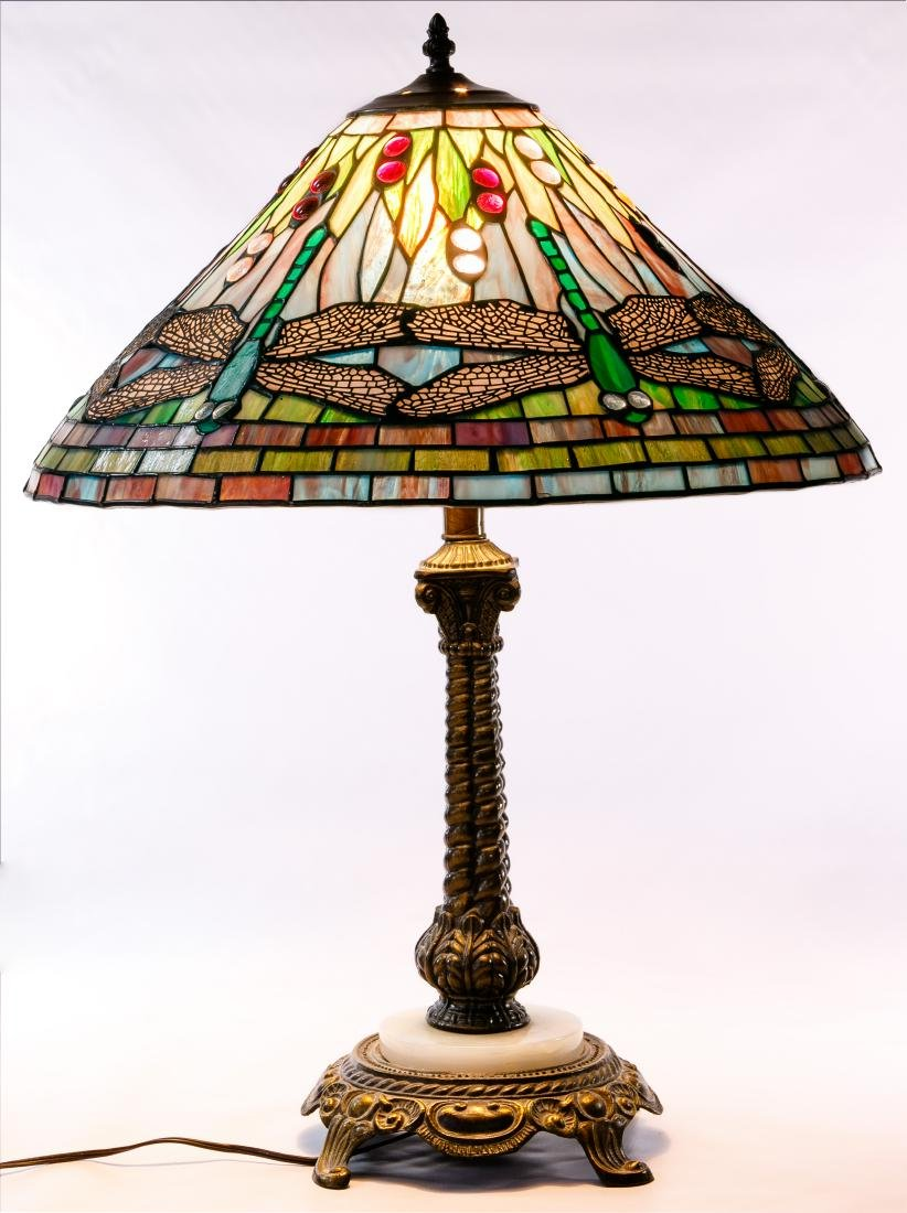 Dragonfly Stained Glass Style Table Lamp