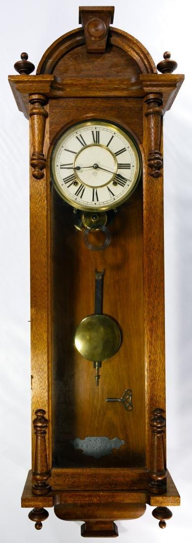 Ansonia Walnut and Glass Cased Wall Clock