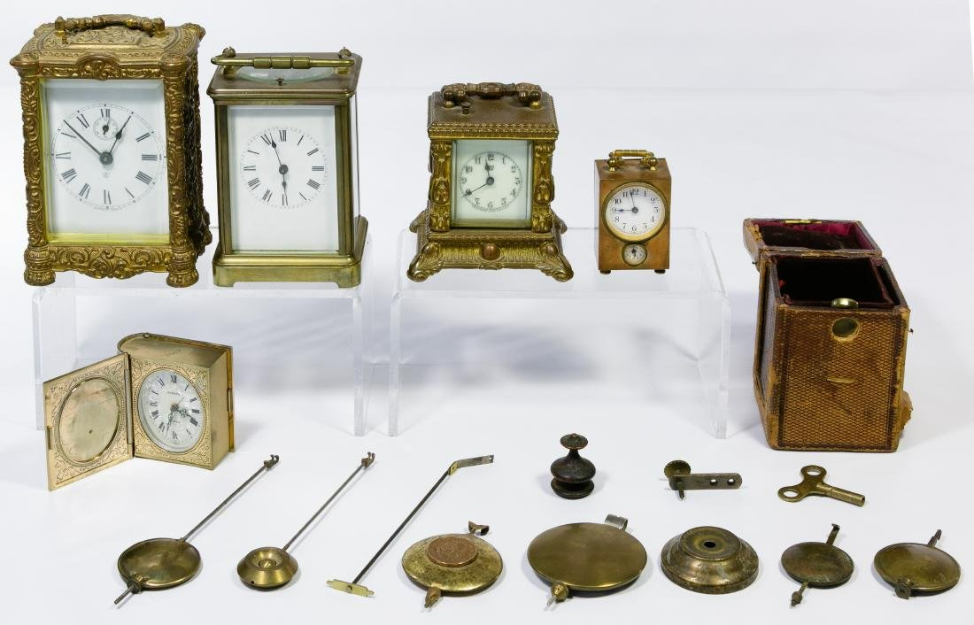 Carriage Clock and Clock Part Assortment