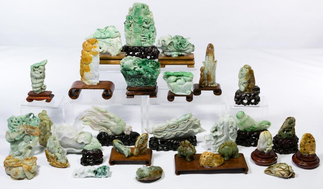 Asian Carved Jadeite Jade Animal Assortment