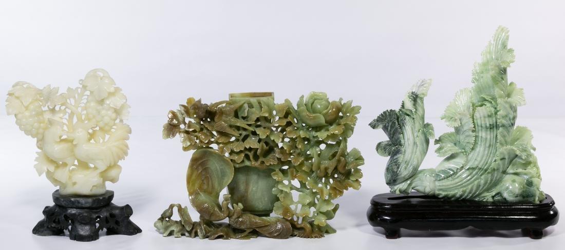 Asian Carved Jadeite Jade Statues