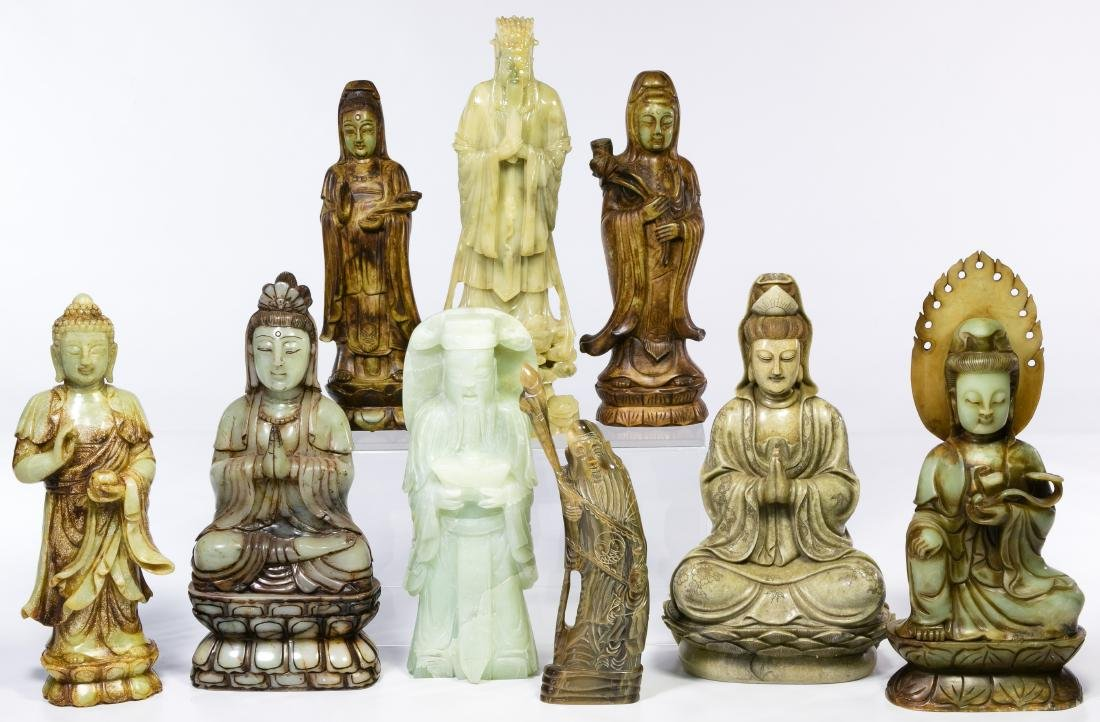 Asian Carved Stone Deity Figures