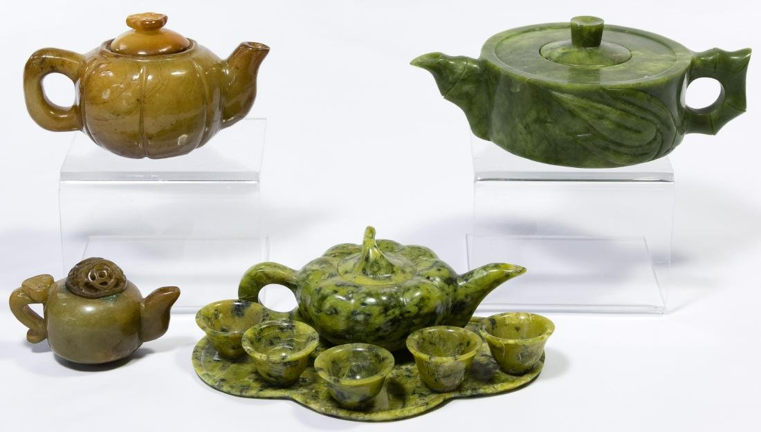 Asian Carved Stone Teapot Assortment