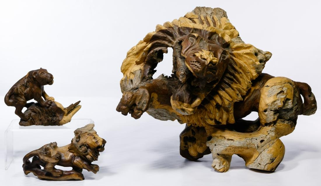 Namibia Carved Wood Lion Figures