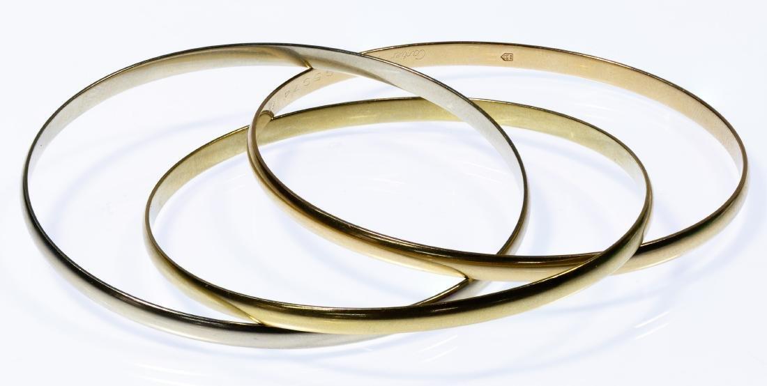 """Cartier Style 18k Tri-Color Gold """"Trinity"""" Bangle Brace"""