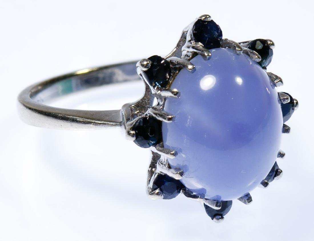 14k White Gold, Blue Spinel and Star Sapphire Ring