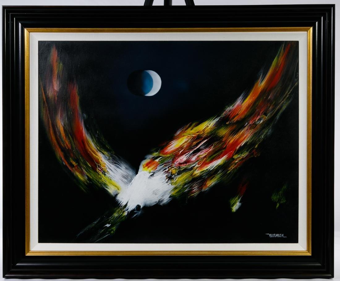 Leonardo Nierman (Mexican, b.1932) 'Fire Bird' Oil on