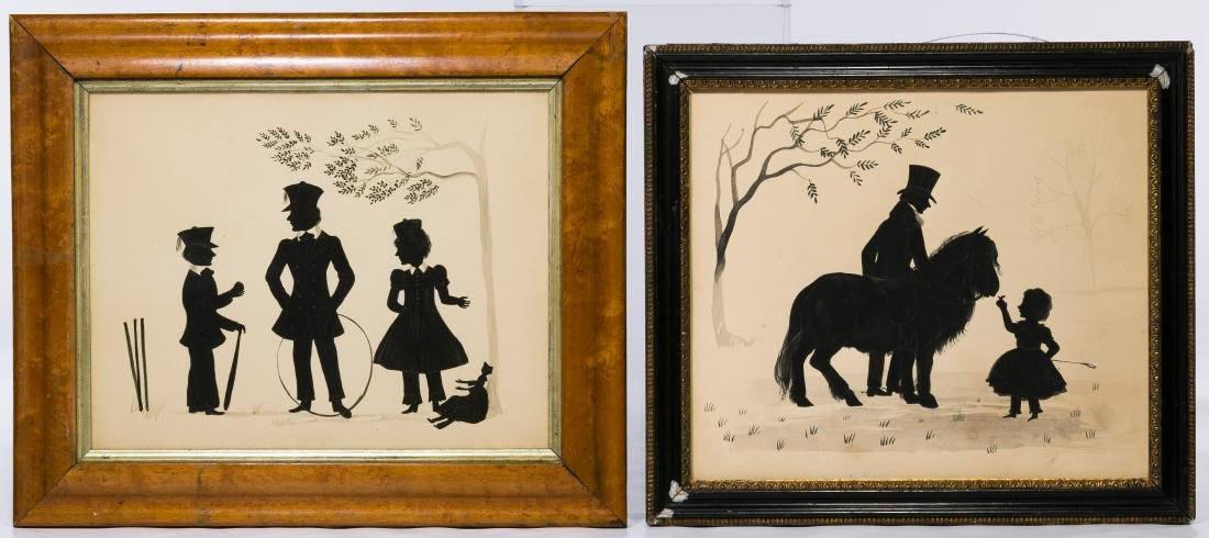 Victorian Watercolor Silhouettes on Paper