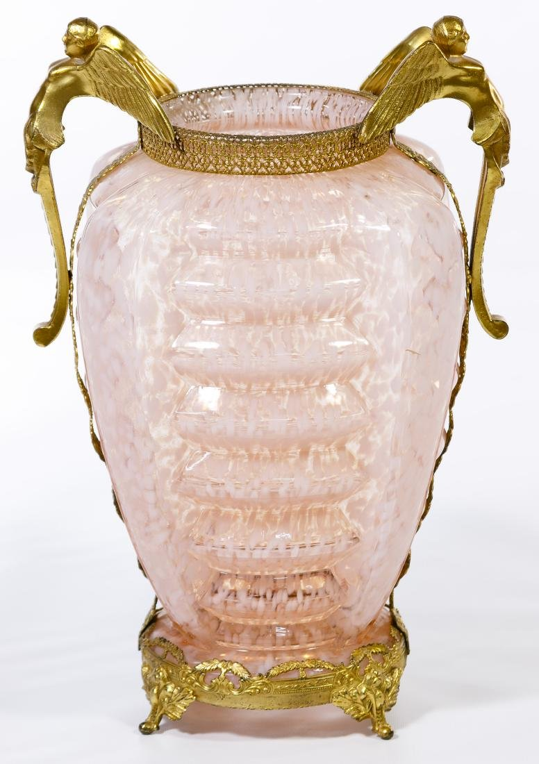 Art Deco Spatter Glass Vase with Metal Mounts