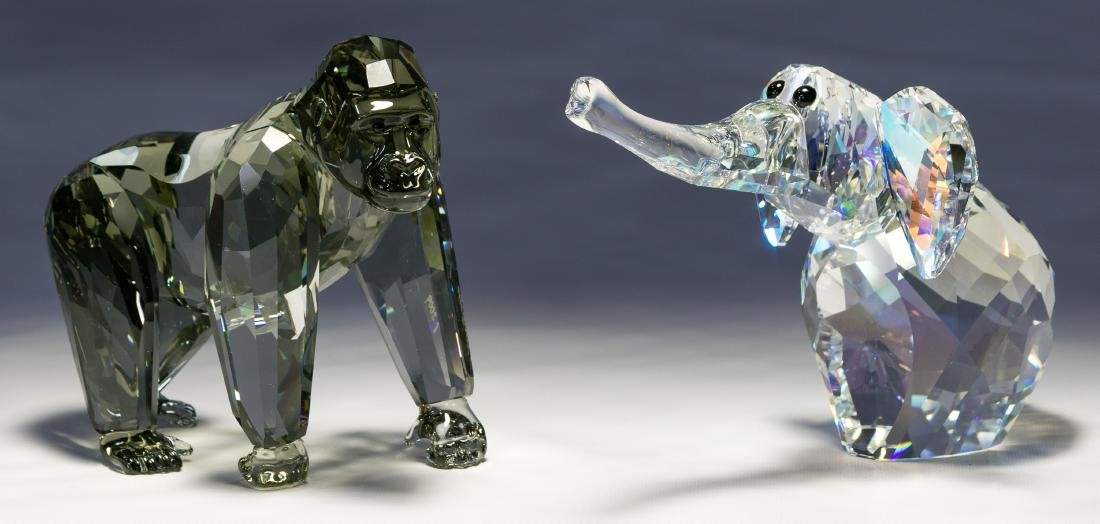 Swarovski Crystal Gorilla and Elephant Figurines