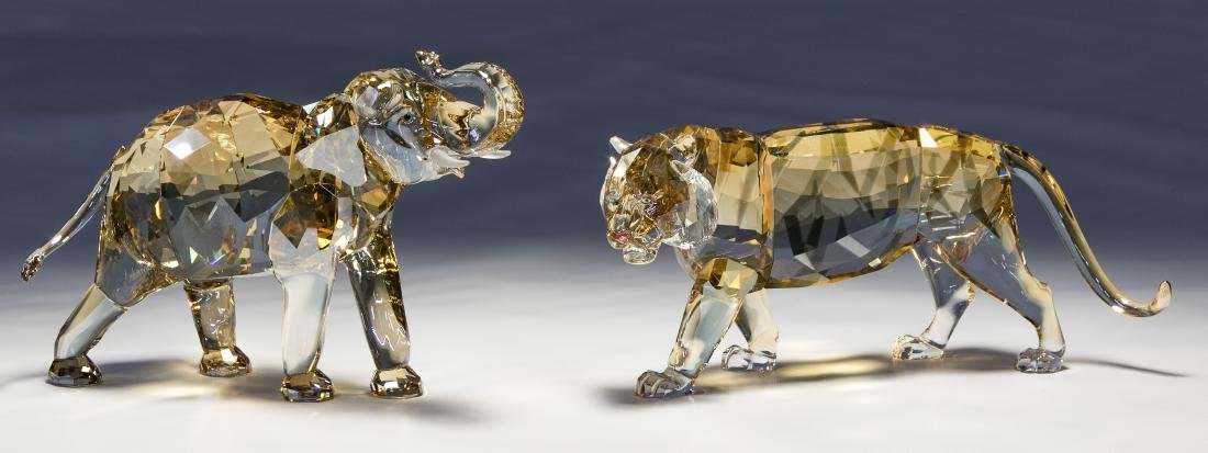 Swarovski Crystal Tiger and Elephant Figurines