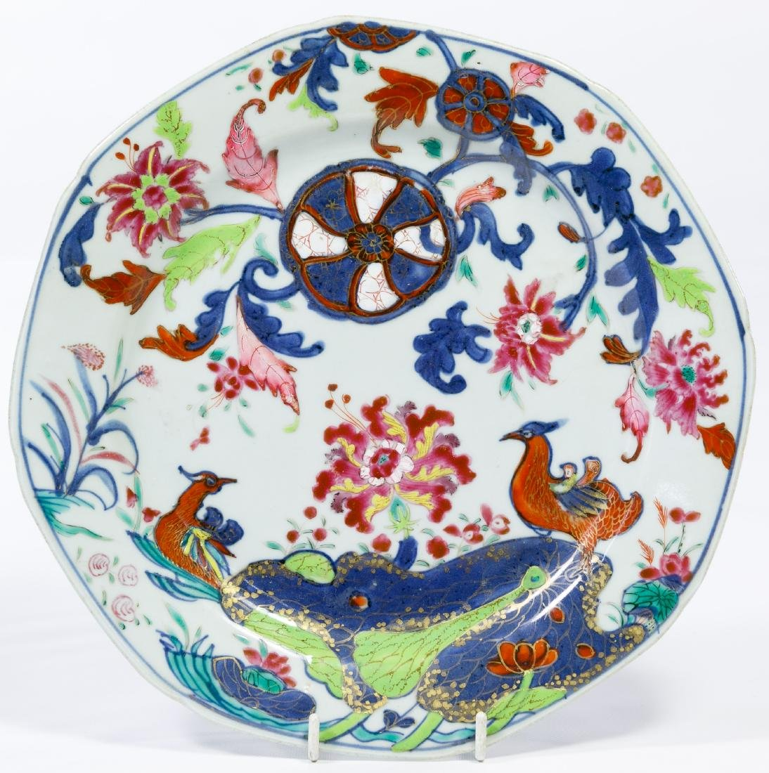 Chinese Famille Rose 'Tobacco Leaf' Ceramic Plate