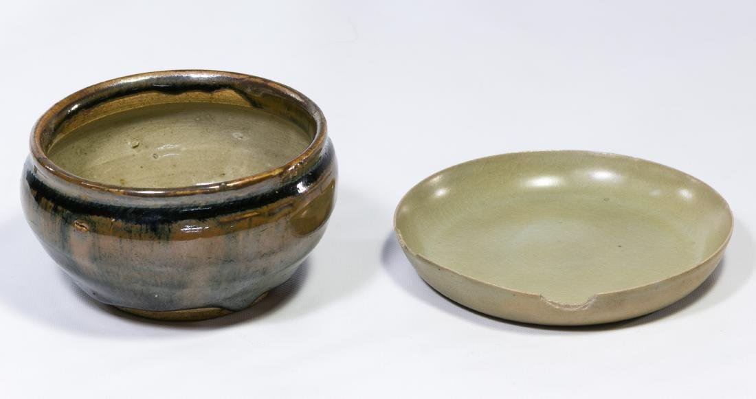 Chinese Jian Ware 'Hare's Fur' Bowl and Celadon Tray