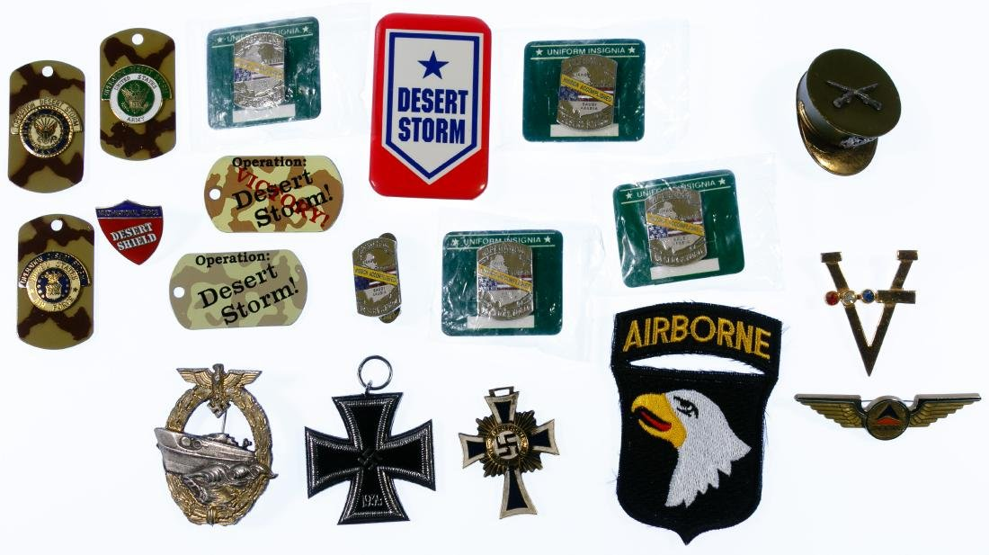 US and German Medal and Patch Assortment