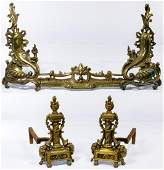 Rococo Style Brass Fireplace Andirons