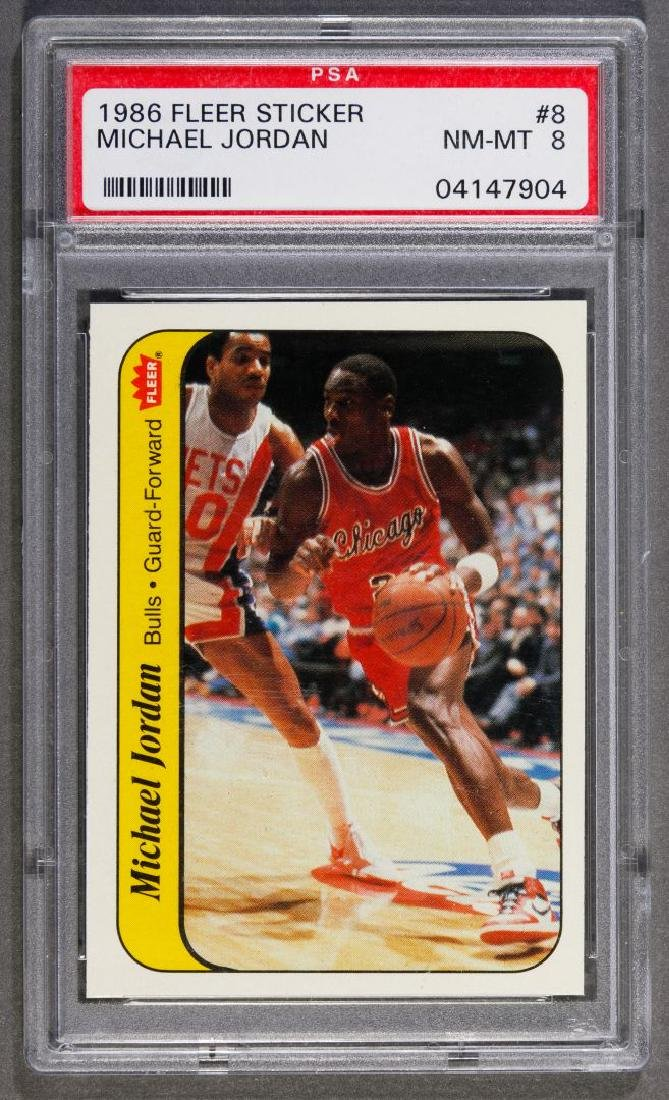 1986 Fleer Sticker Michael Jordan Trading Card NM-MT 8
