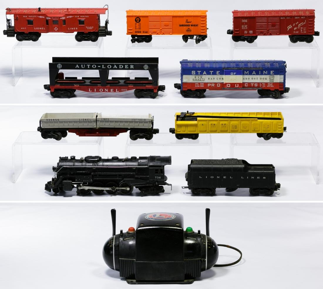 Lionel O-Gauge Model Toy Train Engine, Car and