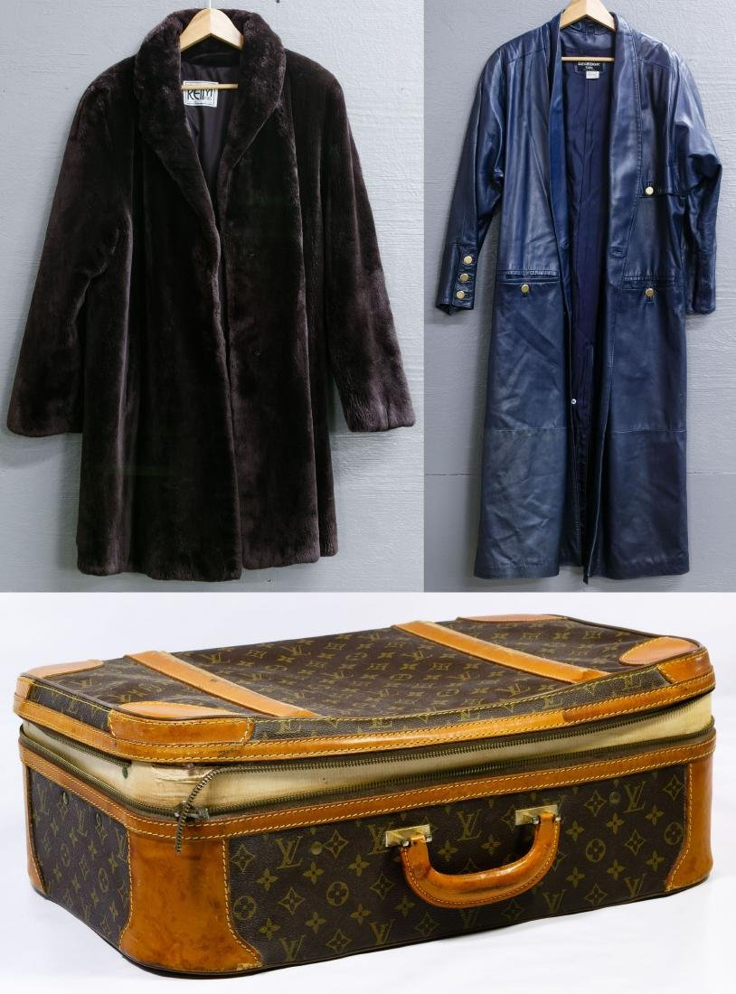Louis Vuitton 'Stratos 50' Suitcase, Fur and Leather