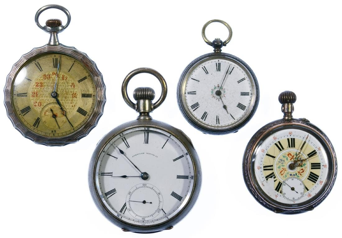 Coin and (800) Silver Open Face Pocket Watch Assortment